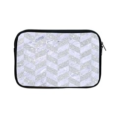 Chevron1 White Marble & Silver Glitter Apple Ipad Mini Zipper Cases by trendistuff