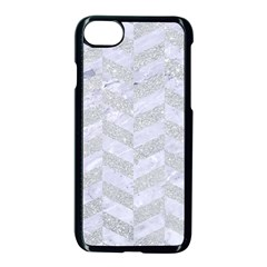 Chevron1 White Marble & Silver Glitter Apple Iphone 8 Seamless Case (black)
