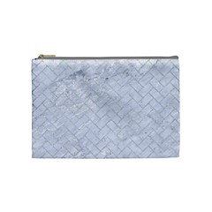 Brick2 White Marble & Silver Glitter (r) Cosmetic Bag (medium)  by trendistuff