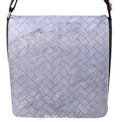 Brick2 White Marble & Silver Glitter (r) Flap Messenger Bag (s) by trendistuff