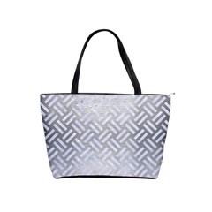 Woven2 White Marble & Silver Brushed Metal Shoulder Handbags by trendistuff