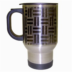 Woven1 White Marble & Silver Brushed Metal (r) Travel Mug (silver Gray) by trendistuff