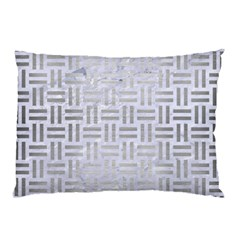 Woven1 White Marble & Silver Brushed Metal (r) Pillow Case by trendistuff
