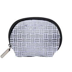 Woven1 White Marble & Silver Brushed Metal (r) Accessory Pouches (small)  by trendistuff
