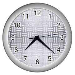 Woven1 White Marble & Silver Brushed Metal Wall Clocks (silver)  by trendistuff