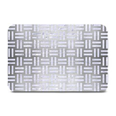 Woven1 White Marble & Silver Brushed Metal Plate Mats by trendistuff