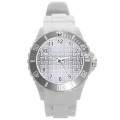 Woven1 White Marble & Silver Brushed Metal Round Plastic Sport Watch (l) by trendistuff