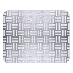Woven1 White Marble & Silver Brushed Metal Double Sided Flano Blanket (large)  by trendistuff