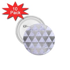 Triangle3 White Marble & Silver Brushed Metal 1 75  Buttons (10 Pack)