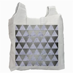 Triangle3 White Marble & Silver Brushed Metal Recycle Bag (one Side) by trendistuff