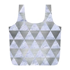 Triangle3 White Marble & Silver Brushed Metal Full Print Recycle Bags (l)  by trendistuff