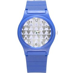 Triangle2 White Marble & Silver Brushed Metal Round Plastic Sport Watch (s) by trendistuff