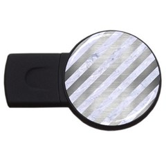 Stripes3 White Marble & Silver Brushed Metal (r) Usb Flash Drive Round (4 Gb) by trendistuff