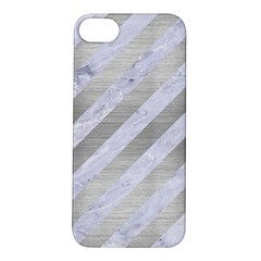 Stripes3 White Marble & Silver Brushed Metal (r) Apple Iphone 5s/ Se Hardshell Case