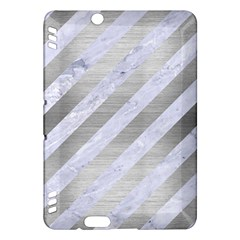 Stripes3 White Marble & Silver Brushed Metal (r) Kindle Fire Hdx Hardshell Case by trendistuff