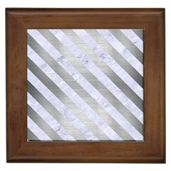 Stripes3 White Marble & Silver Brushed Metal Framed Tiles
