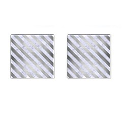 Stripes3 White Marble & Silver Brushed Metal Cufflinks (square) by trendistuff