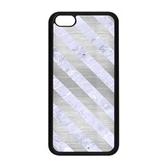 Stripes3 White Marble & Silver Brushed Metal Apple Iphone 5c Seamless Case (black) by trendistuff