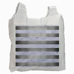 Stripes2white Marble & Silver Brushed Metal Recycle Bag (two Side)  by trendistuff