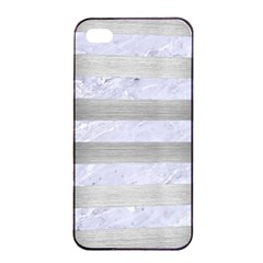 Stripes2white Marble & Silver Brushed Metal Apple Iphone 4/4s Seamless Case (black) by trendistuff