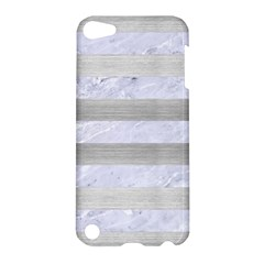 Stripes2white Marble & Silver Brushed Metal Apple Ipod Touch 5 Hardshell Case by trendistuff
