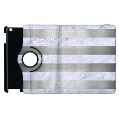 Stripes2white Marble & Silver Brushed Metal Apple Ipad 2 Flip 360 Case by trendistuff