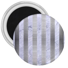 Stripes1 White Marble & Silver Brushed Metal 3  Magnets by trendistuff
