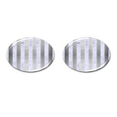 Stripes1 White Marble & Silver Brushed Metal Cufflinks (oval) by trendistuff