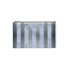Stripes1 White Marble & Silver Brushed Metal Cosmetic Bag (small)  by trendistuff