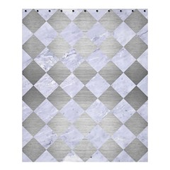 Square2 White Marble & Silver Brushed Metal Shower Curtain 60  X 72  (medium)  by trendistuff