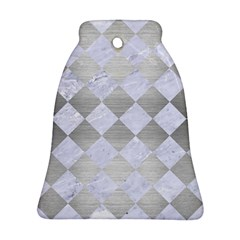 Square2 White Marble & Silver Brushed Metal Ornament (bell) by trendistuff