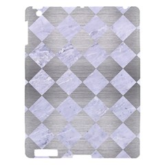 Square2 White Marble & Silver Brushed Metal Apple Ipad 3/4 Hardshell Case by trendistuff