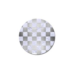 Square1 White Marble & Silver Brushed Metal Golf Ball Marker (10 Pack)