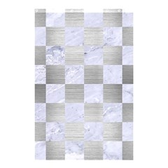 Square1 White Marble & Silver Brushed Metal Shower Curtain 48  X 72  (small)  by trendistuff