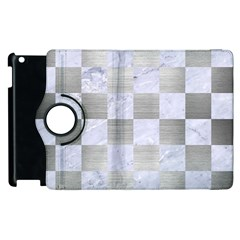 Square1 White Marble & Silver Brushed Metal Apple Ipad 2 Flip 360 Case by trendistuff