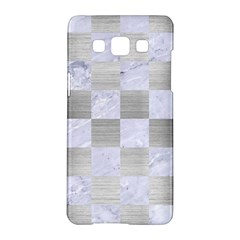 Square1 White Marble & Silver Brushed Metal Samsung Galaxy A5 Hardshell Case  by trendistuff