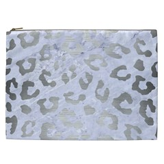 Skin5 White Marble & Silver Brushed Metal Cosmetic Bag (xxl)  by trendistuff