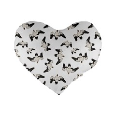 Birds Pattern Photo Collage Standard 16  Premium Flano Heart Shape Cushions by dflcprints