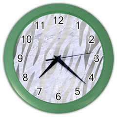 Skin3 White Marble & Silver Brushed Metal (r) Color Wall Clocks