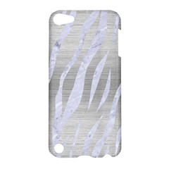 Skin3 White Marble & Silver Brushed Metal Apple Ipod Touch 5 Hardshell Case by trendistuff