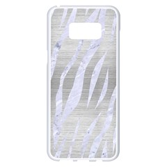 Skin3 White Marble & Silver Brushed Metal Samsung Galaxy S8 Plus White Seamless Case by trendistuff
