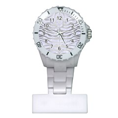 Skin2 White Marble & Silver Brushed Metal (r) Plastic Nurses Watch by trendistuff