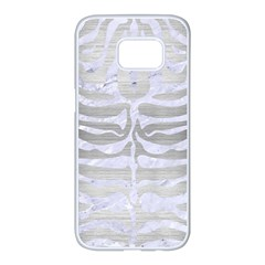 Skin2 White Marble & Silver Brushed Metal Samsung Galaxy S7 Edge White Seamless Case by trendistuff