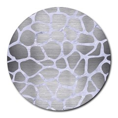 Skin1 White Marble & Silver Brushed Metal (r) Round Mousepads by trendistuff