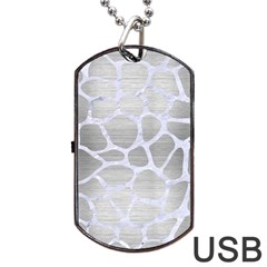 Skin1 White Marble & Silver Brushed Metal (r) Dog Tag Usb Flash (two Sides) by trendistuff