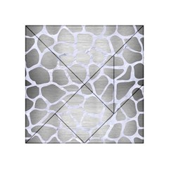 Skin1 White Marble & Silver Brushed Metal (r) Acrylic Tangram Puzzle (4  X 4 ) by trendistuff