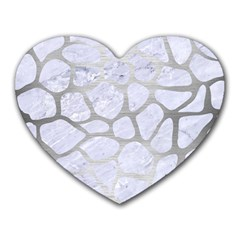 Skin1 White Marble & Silver Brushed Metal Heart Mousepads by trendistuff