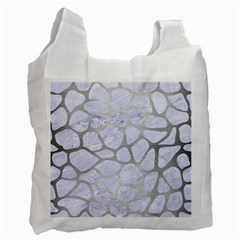 Skin1 White Marble & Silver Brushed Metal Recycle Bag (two Side)  by trendistuff