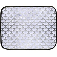 Scales3 White Marble & Silver Brushed Metal (r) Double Sided Fleece Blanket (mini)  by trendistuff