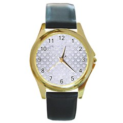 Scales2 White Marble & Silver Brushed Metal (r) Round Gold Metal Watch by trendistuff